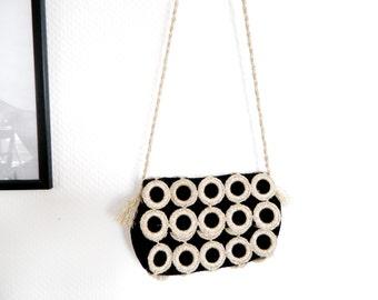 60s bag, handbag, evening bag, bag velvet Lurex, party bag, vintage bag