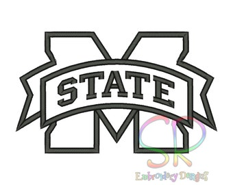 9 Size Mississippi State Bulldogs Appliqué Embroidery Designs College Football Logo Embroidery Design Machine Embroidery - Instant Download