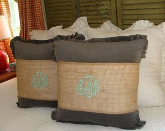 Gray Sham/25x25 Euro Sham/Large Pillow/Bedding