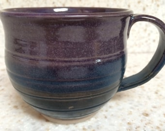 Large handmade pottery mug, ceramic coffee mug in grape and teal