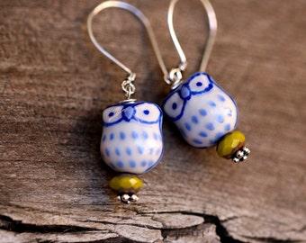 Sterling Silver Blue Owl Earrings | Cute Owl Jewelry | Blue Owl Jewelry | Handmade Blue Owl Earrings By Redd Molly
