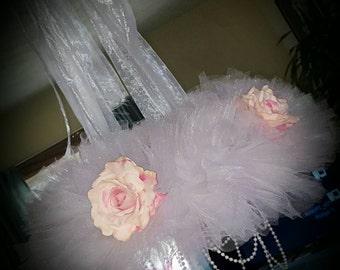 White Glitter & Rose Tutu Chandelier