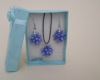 Marie sterling silver set - earrings and necklace - Pendant - Sterling Silver - Silver earrings - Jewelry - Jewelry Making