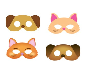 Dog mask, cat mask, 2 style masks, child mask, kids mask, animal mask, printable paper mask, cute kitty mask, printable cat mask