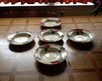 5 Vintage Franciscan Bowls with Apple Motif