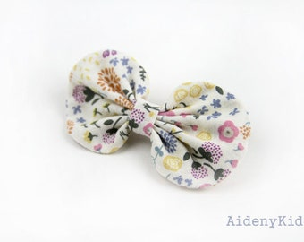 No57 / Wildflower/Cotton Hair Clips/Girl Hair Clips/Toddler Hair Pins/Gift for Kids/Birthday Present/Fabric Bow/Baby Clips/Hair Accessory