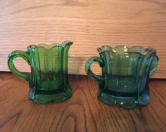 Vintage Green Glass Creamer and Sugar