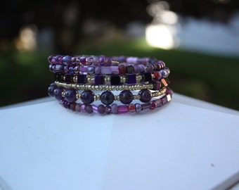Regal Purple Multi Layer Beaded Wrap Bracelet
