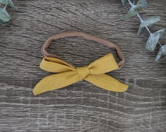 Mustard Linen Baby Bow Headband