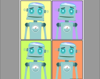Retro Pop Art Robots 11x14 Digital Download