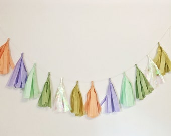 TASSEL GARLAND- assembled, choose colors: tassle garland / tissue garland / custom / wall decor / party / wedding / shower / canadian / yyz