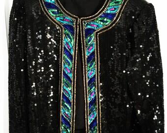 Vintage Stenay Silk Sequin Bolero Jacket