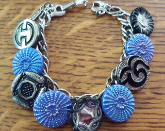 European Vintage Glass Button Bracelet