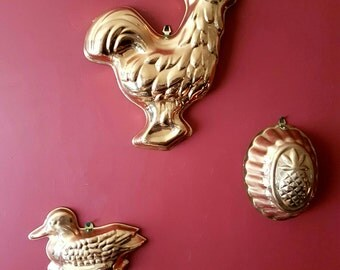 Vintage Copper Tin Jelly Moulds Wall Hangings Kitchen Set of 3 Home Decor