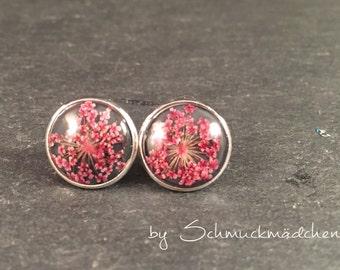 Earrings Silver Flower Pink