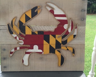Maryland Flag Crab | Pallet Board Art