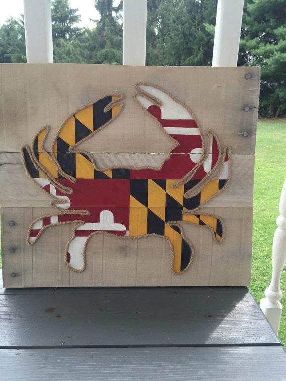 Maryland Flag Crab Pallet Board Art