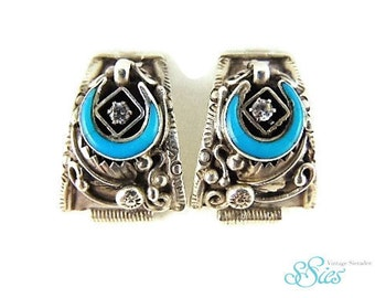 Sale! Beautiful NAVAJO silver watch tips turquoise Horseshoe