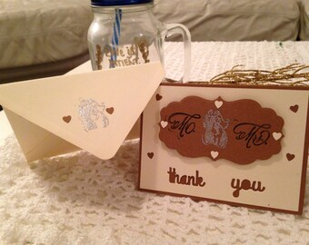 Handmade Thank You Card-Mr & Mrs (Pack of 5)