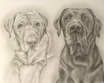 Pet Portrait - Labrador custom dog portrait from your photo