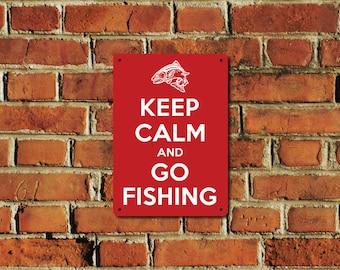 Keep Calm and Go Fishing Metal Sign