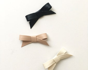 Clover>> faux-leather minimalist hair bows for baby/toddler/kids/adults