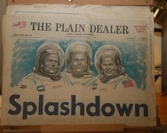 Cleveland Plain Dealer Newspaper - Apollo 11 Splashdown Edition - July 25, 1969
