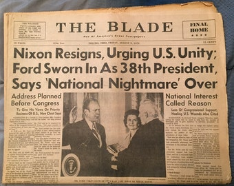 Toledo Blade Newspaper - Nixon Resigns - August 9, 1974