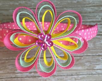 Pink headband with a flower, girls headbands, toddler hadbands, easter headband, plastic headbands