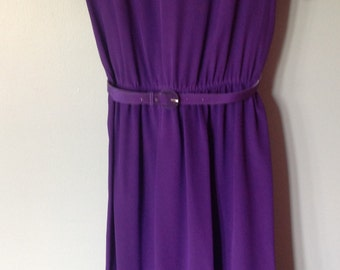Vintage 1980's Purple Silk Maggy London Dress with Ruffled Cap Sleeves