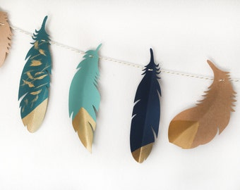Feather Banner For Party or Nursery Decoration, Baby Boy Nursery Decor, Tribal Nursery Decoration, Boho Banner, Boho Feathers Decoration