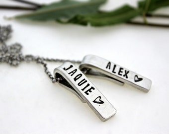 Personalized double bar necklace.  Can add up to 5 bars.