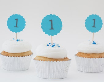Blue First Birthday Cupcake Kit