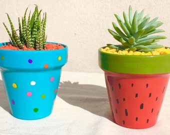 hand painted 10 cm pot