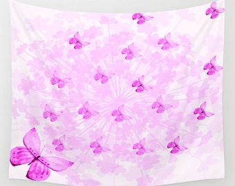 Butterflies and Flowers Pink-Tapestry