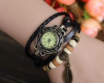 Women wrist watch, ladies wrist watch, leather watch, vintage, boho, retro, bracelet watch, Black, leather jewelery, FREE GIFT !!