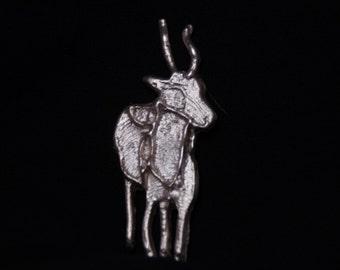 Silver Antelope sculpture/Fine silver antelope sculpture