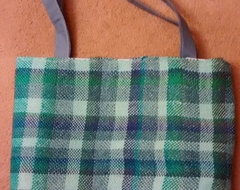 Green and Gray plaid tote