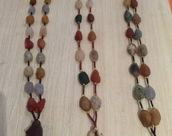 Alashan raw colourful agate long necklace