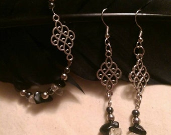 Black obsidian and Citrine Earring and Bracelet Set