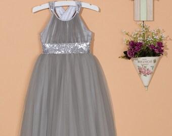 Grey flower girl dress/Silver sequin dress/Tulle flower girl dress/Sequin flower girl dress/Birthday party dress/Girl pageant dress 0057