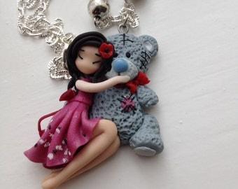 Baby bear girl,polymer clay pendant,gift for her,handmade