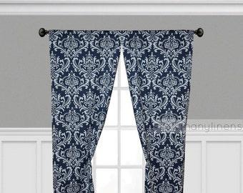 Curtain Panels Window Treatments Navy Blue Floral Curtains Nautical Navy  Custom Drapery Nursery Decor Drapes