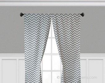 Gray Curtain Panels Chevron Window Treatments Drapery Custom Drapes Stripe Zig Zag Living Room Decor Grey Nursery Panels Pair