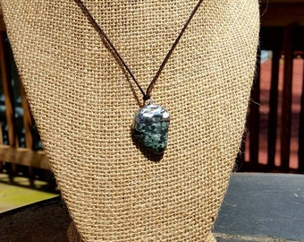 Handmade Silver Capped Tumbled Stone Pendant Necklace