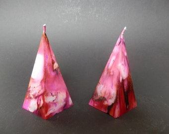 Handmade Candle, Pink Pyramid Candle, Unscented Candle, Marbled Candles, Each One Unique