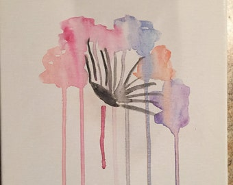 Original Watercolor Flower on Canvas