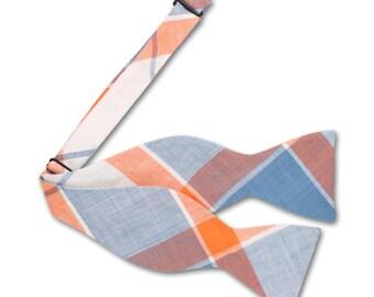 Orange and Blue Plaid Bow tie. Mens Bow tie.