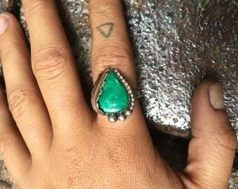 Malachite Feather Ring sz 6.5