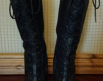 vintage leather knee high lace up boots